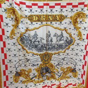 Vintage DKNY Silk Scarf Square Equestrian Fox Hunt